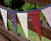 Red, White, Blue Patriotic Fabric Banner Bunting