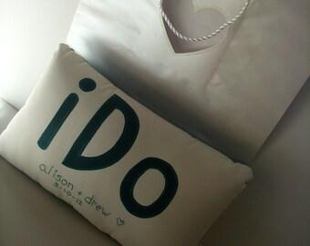 HANDMADE WEDDING PILLOW- I Do Pillow-Ring Bearer Pillow-Mr. and Mrs.- Unique Wedding Gift- Applique Pillow-Custom Pillow- Wedding Date-