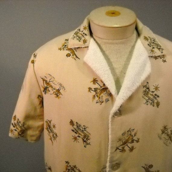 Men S 50 S Cabana Terry Cloth Lined Shirt By