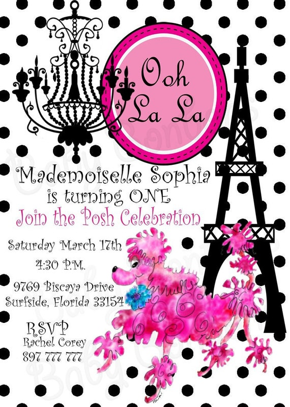 Ooh La La Pink French POODLE Birthday Party Invitation - Invitation in french to birthday party