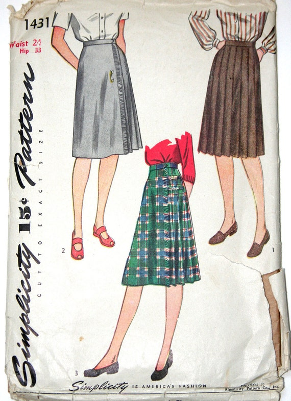 1940s pleated flared skirt vintage sewing pattern by bnvintage