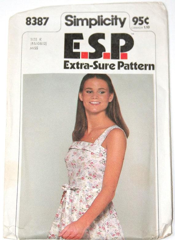 Sundress Vintage sewing pattern 1970s Simplicity 8387 size 8 10 12