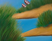 """ORIGINAL  CONTEMPORARY OIL Painting Landscape Wall Decor """"Two red boats"""" by QiQiGallery"""