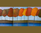 """54"""" Huge Original Modern Abstract Heavy Texture Acrylic Painting Landscape Trees Autumn """" Fall Splendour """" by QIQI GALLERY"""