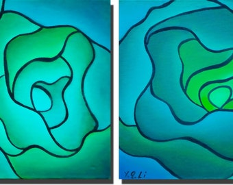 Turquoise blue green abstract painting a set of 2 painting square painting original artwork by qiqigallery
