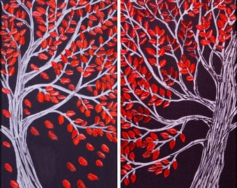 "Art painting tree painting red leave tree Heavy Texture Palete Knife canvas art wall art wall decor "" Side By Side"" by QIQI GALLERY"