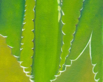 Cactus art small art oil painting original artwork canvas art green yellow still life by qiqigallery