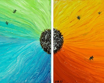 """Rainbow color art Acrylic painting Original floral art Palette KNIFE Dragonflies Wall art wall decor """"Fly into the Rainbow"""" by QIQIGALLERY"""