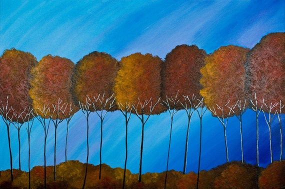 "Huge Original Modern Abstract  Heavy Texture Acrylic Painting Landscape Trees Wall Decor ""Autumn forest"" by QIQIGALLERY"