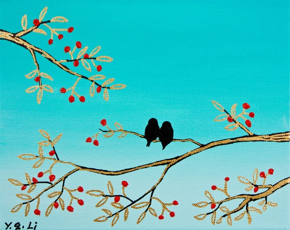 Original Modern Abstract Palette Knife Painting Black Birds and Red Berries by QIQIGALLERY 10x8