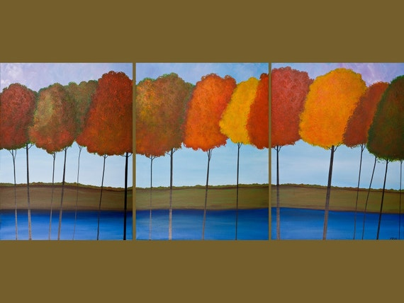 "54"" Huge Original Modern Abstract Heavy Texture Acrylic Painting Landscape Trees Autumn "" Fall Splendour "" by QIQI GALLERY"