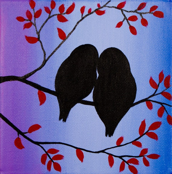 Abstract Landscape Acrylic Painting MINIATURE Original Modern Contemporary Tree Love Birds by QIQIGALLERY