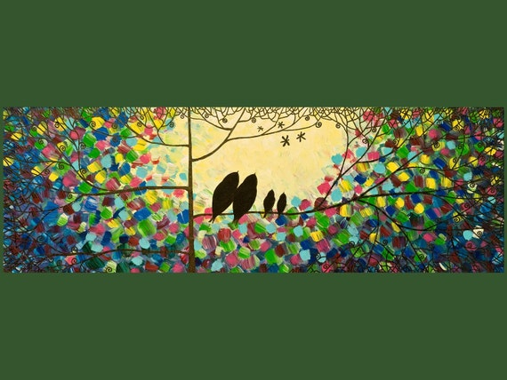 """Large Original Modern Abstract Heavy Texture Impasto Metallic Acrylic Painting Birds and Dragonflies """"Evening Show"""" by QIQIGALLERY 36x12x0.8"""