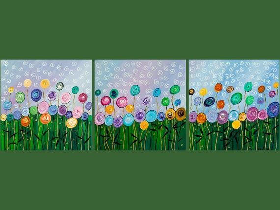 "Original Modern Abstract Heavy Texture Impasto Acrylic Painting ""wild flowers"" by QIQIGALLERY 36x12x0.8"