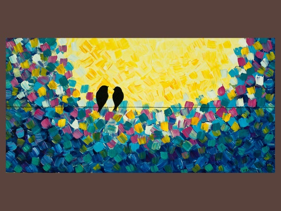 """36x18 Original Modern Abstract Heavy Texture Impasto Love Birds on Wire Painting """"I Love You more"""" by QIQIGALLERY"""