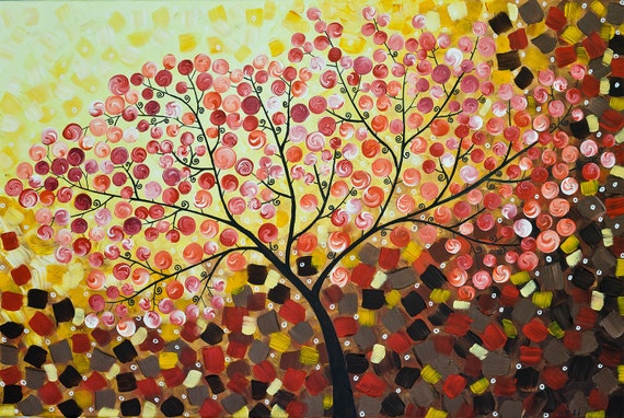 """Original Abstract paintng Heavy Texture Impasto Landscape Tree Branches Wall Decor """"Wishing Tree"""" by QIQIGALLERY"""