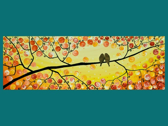 "Original Abstract Modern Heavy Texture  Painting Landscape Love Birds and Tree Branches ""Fall of Autumn"" by QIQIGALLERY"