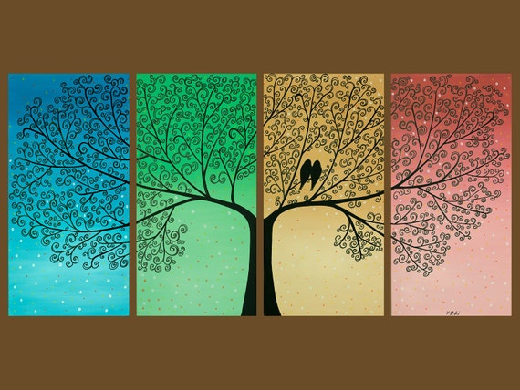 """Original Modern Abstract Painting Landscape Tree Love Birds Wall Decor """"The Wedding Day II"""" by QIQIGALLERY"""