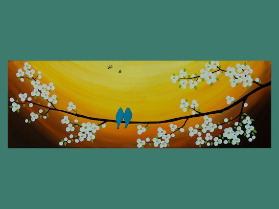 """Original Modern Abstract Palette Knife Sunset LandscapeTree painting """"Spring Blossom Blue Birds Dragonflies"""" by QIQIGALLERY"""