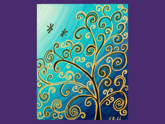 """Colorful abstract painting teal blue purple Original Modern Abstract art Dragonflies Tree Wall art wall decor """"Dancing in the Moon Light"""""""