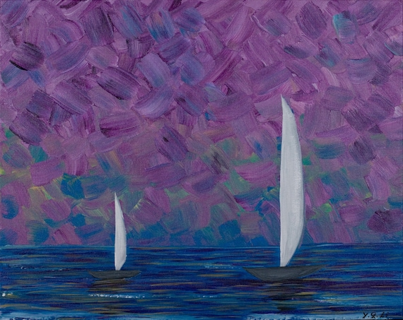 "Original Modern Abstract Heavy Texture Impasto Painting Landscape Seascape Wall Decor ""Double Sail"" by QIQIGALLERY"