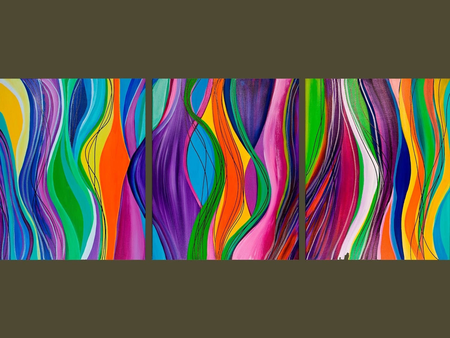 Line Art Painting : Original modern art line movement abstract contemporary