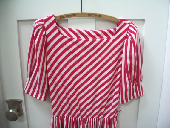 Vintage pink and white striped 80's dress