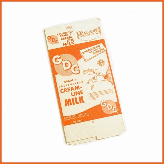 New 1950s Quart Carton GDC Cream Line Milk