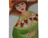 ACEO Original Folk Art Acrylic Painting Angel of Hearts
