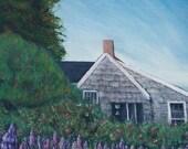 ACEO Lupine and House Monhegan Island Me Ltd Edition Print