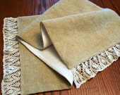 Burlap table runner Handmade crocheted lace Country cottage coastal decor