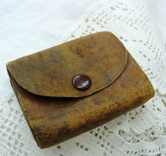 Antique leather wallet   Men's early 1900s   Amazing