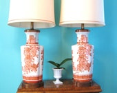 Pair of 60s CHINOISERIE Burnt PERSIMMON Abstract ROSE Table LAMPS
