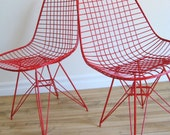50s RED Mid Century Modern EAMES Eiffel Base CHAIR