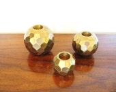 Trio of GEOMETRIC Brass Ball HOLLYWOOD REGENCY Vintage Candle Holders