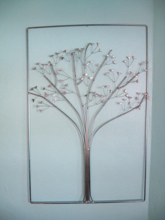 60s mid century modern silver tree wall art by fabulousmess - Mid century modern wall decor ...