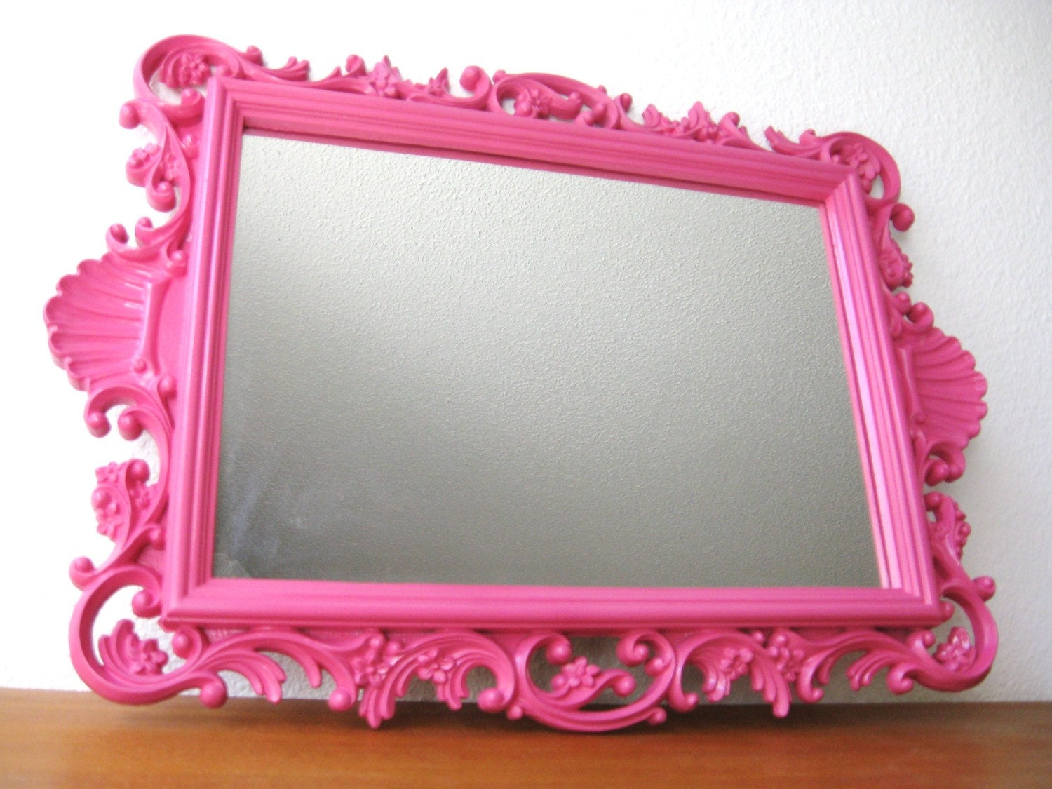 Vintage Hot Pink Hollywood Regency Wall Mirror By Fabulousmess