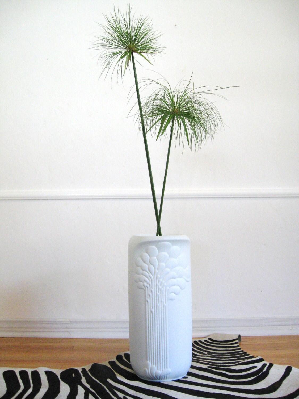 Mid Century Modern White Porcelain Floor Vase By Fabulousmess