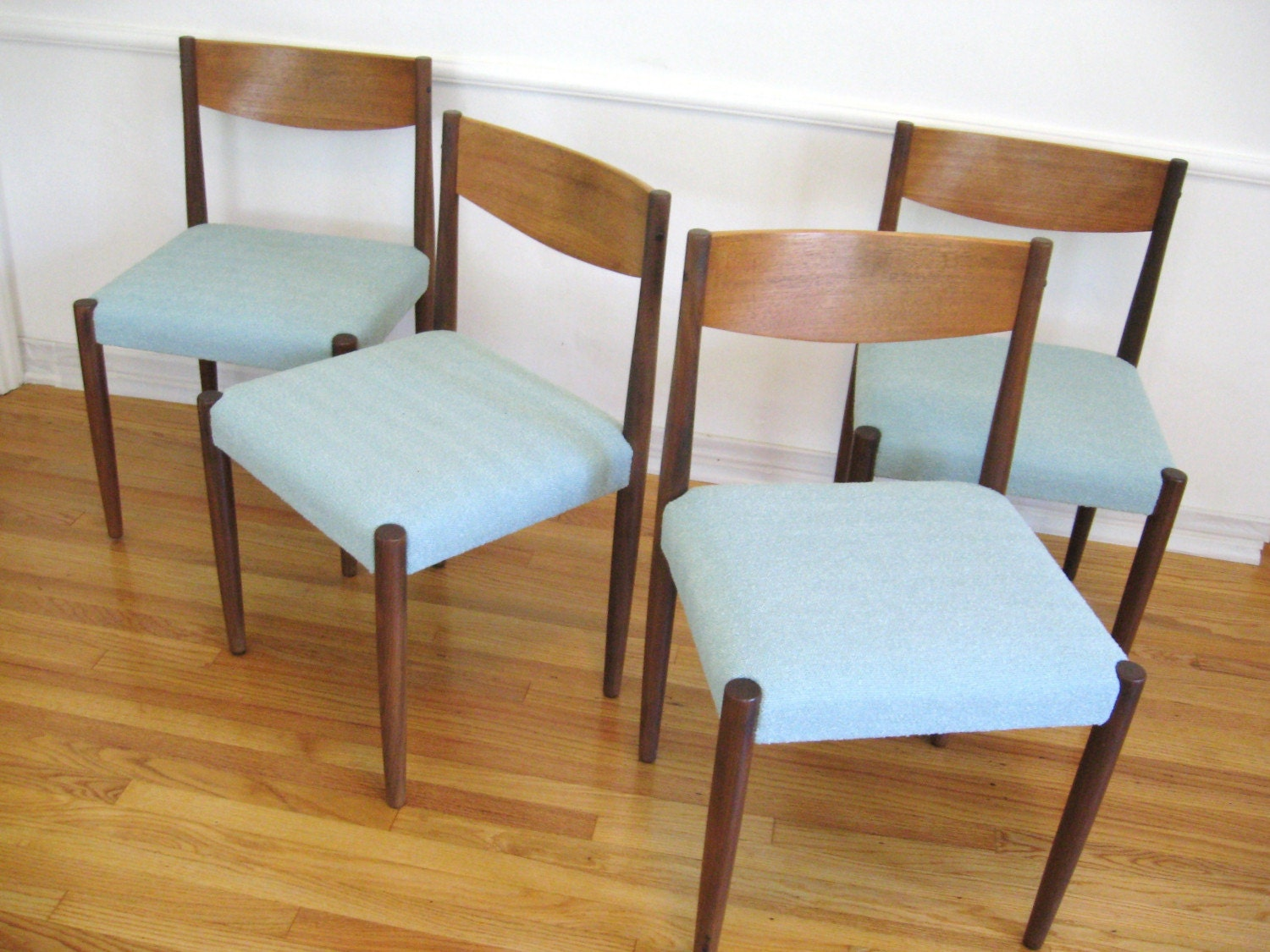 60s danish modern teak wood vintage dining chairs by for Retro modern dining chairs