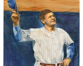watercolor portrait painting of New York Yankees baseball player Babe Ruth - giclee from original