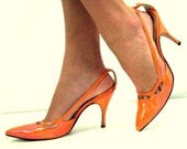 Vintage 50's Stiletto Shoes, Carrot Orange, QualiCraft - SuzisCornerBoutique