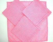 Pink and White Gingham Napkins, Set of 4