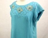 Vintage 60's Day Dress, Shift Style, Sky Blue, Beaded Embellishments, Renmor, S/M