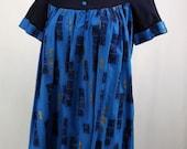 Vintage Hawaiian MuuMuu Dress, Blues and Gold, Cuffed Short Sleeves