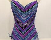 Vintage 70's Bathing Suit, One Piece, Chevron Stripes, Sirena, Small