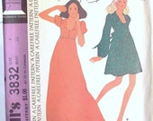Sewing Pattern McCalls 3832 Size 7 Bust 32 Maxi and Short Dress 1973