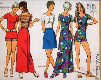 Vintage 70s Sewing Pattern, Shorts, Skirt and Top Size 10 Miss