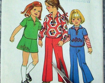 Vintage 70s Sewing Pattern, Top-Skirt and Pants, Child Size 3
