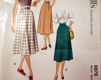 McCall's Sewing Pattern, Skirt, Vintage 1952, Waist 32