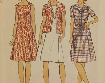 Vintage 70's Sewing Pattern, Dress and Jacket, Size 16 1/2, Bust 39